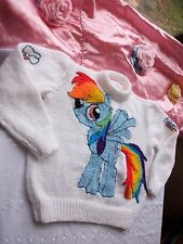 My little pony knitting pattern. Girls jumper Sizes from 24 to 34 in chest.