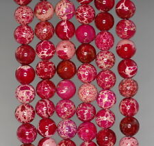 8MM SEA SEDIMENT IMPERIAL JASPER GEMSTONE PINK  ROUND LOOSE BEADS 15.5""