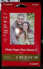 """Canon Photo Paper Plus Glossy II Inkjet Paper, 4x6"""" 100 Sheet Pack (one package)"""
