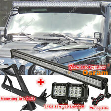 52INCH 700W 2X 18W CREE LED Light bar + Mount Brackets Fit for Jeep JK Wrangler