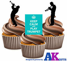 Keep Calm Trumpet Mix 12 Edible Stand Up Cup Cake Toppers Blues Jazz Decorations