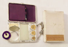 German Silver Vanity Case PURPLE leather interior, celluloid writing slate PLUS!