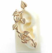 Crystal Ear Cuff Wrap Pin Earring Gold Tone Sweeps Up Ears Leaves Climber Women