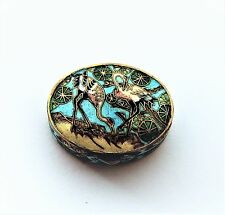 Chinese Cloisonne Enamel Two Crane Pill or Bon Bon Oval Small Oval Box