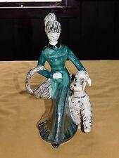 """VINTAGE JAPAN 10 1/2"""" HIGH WOMEN with POODLE DOG CERAMIC FIGURE"""