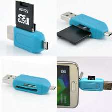 USB 2.0+Micro USB OTG SD T-Flash Memory Card Reader Adapter For Cellphone PC