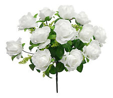 "WHITE Roses 17"" Centerpieces Silk Wedding Flowers Decorations Bridal Bouquet"