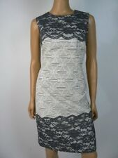 Maggy London Gray Ivory Textured Floral Lace Trim Sheath Dress 12 NEW M351