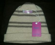 NWT AGAR Women's Tan & Brown 100% Cashmere Knit Winter Hat, Beanie One Size