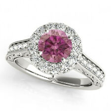 1 Carat Purple Pink HPHT Diamond Band 14k White Gold Valentineday Spl. Sale