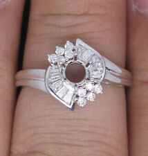 Round 4.5mm Solid 18Kt White Gold Natural Diamond Semi Mount Engagement Ring
