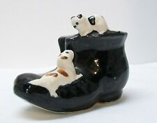 Spotted Cat and Dog on Black Porcelain Shoe Marked Made in USA Vintage
