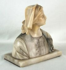 Antique Carved Italian Marble Bust Plaintive Peasant Woman in Head Scarf & Tunic