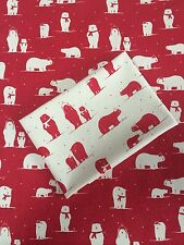 Christmas Red & Cream Polar Bears FQ Scandinavia Fabric Material 100 % Cotton