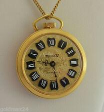 TEGROV Halsketten-Uhr - Anhänger / Handaufzug / vergoldet - mit Kette