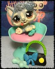 Littlest Pet Shop #1683 Rare Husky Baby Blue and White w/ Accessories BLEMISHED