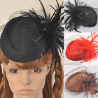 Women Dress Vintage Fascinator Wool Felt Pillbox Hat Party Wedding Veil Feather