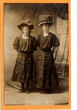 Studio Real Photo Postcard RPPC - Two Women in Large Hat
