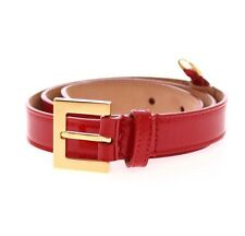 NWT $320 DOLCE & GABBANA Red Leather Logo Gold Buckle Belt s.80 cm / 32 inch