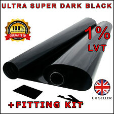 ULTRA SUPER DARK BLACK 1% 6M x75CM 2 x ROLL 3M CAR WINDOW TINT FILM TINTING