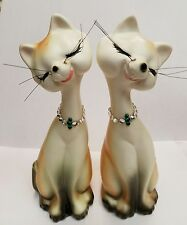 Vintage pair Victoria Ceramics Siamese Cat Figurines with rhinestone necklaces