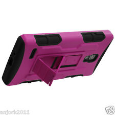 LG Optimus L9 T-Mobile P769 Hybrid C Armor Stand Case Skin Cover Hot Pink Black