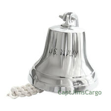 "Aluminum US Navy Ship's Bell 6"" Chrome Finish Nautical Doorbell Wall Decor"