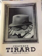 Vintage Advertising Chapeaux Tirard French Hats 1930s Original Ad