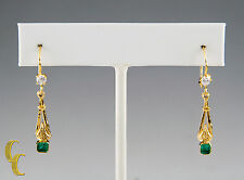 Gorgeous Yellow Gold Diamond and Emerald Drop Earrings with Lever Backings