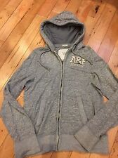Vintage Men's Muscle Abercrombie And Fitch Large Grey Hoodie
