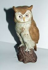 Porcelain Horned Owl Figurine~Ceramic Realistic Woodland Brown Barn Statue Hoot