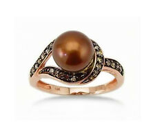 Stunning! 14K Rose Gold Chocolate Brown Diamond & Chocolate Pearl Ring - .19ct