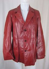 Vintage 70s Fidelity Leathers Red Leather Blazer Style Jacket Mens 42 Pimp