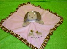 Carters MOMMY LOVES ME Pink Puppy Dog Baby Security Blanket Lovey Rattle Plush