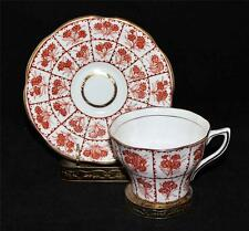 Rosina Bone China, England Cup & Saucer Set, Rust, Orange Flowers, Squares 546