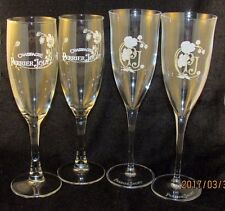 "Lot 4 Perrier Jouet Champagne Flutes Glasses Goblets White Flower Logo 7.75"" 8"""