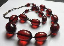 Vintage Antiguo graduado de larga rojo cereza Ámbar Baquelita granos 74.4 gramos