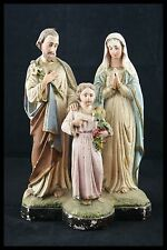 † 19TH FRANCE HOLY FAMILY CHALKWARE JOSEPH VIRGIN MARY CHILD JESUS SIGNED †