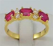 18 k yellow gold filled ruby & white zircon Wedding Jewelry rings size9 jc891-9