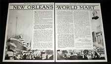1919 OLD MAGAZINE PRINT AD, NEW ORLEANS - WORLD TRADE MART, FRED CRAFT ARTWORK!