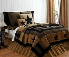 DELAWARE 3 PC QUEEN QUILTED BEDDING SET 1 QUILT 2 SHAMS BLACK KHAKI STARS