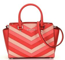 NWT Michael Kors Selma Saffiano Leather Chevron Top Zip Medium Satchel Coral