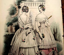 LE FOLLET 1845 Hand-Colored Fashion Plate #1260 DANCE DRESSES Original Print