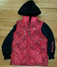 HURLEY FLEECE POLYESTER HOODIE ZIP JACKET RED BLACK BOYS 7 MSRP $64
