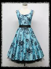 dress190 Turquoise Blue 50s FLORAL FLOCK TATTOO ROCKABILLY COCKTAIL DRESS 24-26