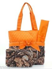 CAMO LEAF AND ORANGE QUILTED DIAPER BAG WITH CUSTOM MONOGRAM - NEW WITH TAGS