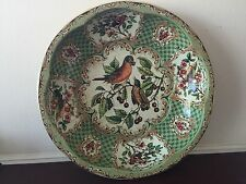 Vintage Daher Green Tin Decorative Ware Birds Eating Berries Bowl Wall Decor