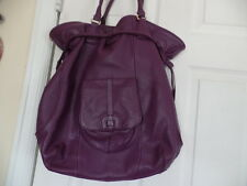ISAAC MIZRAHI  LIVE  BEAUTIFUL X LARGE PURPLE PEBBLE LEATHER HANDBAG EUC/SALE