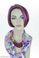Chic Angled Bob Mid Lenght Brunette Red Straight Skin Top Fun Color Costume Wigs