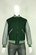 Vintage leather wool letterman jacket 42 M/L varsity 60's green gray butwin